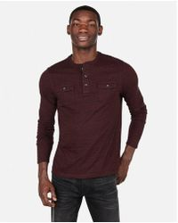 Express - Two Pocket Henley Tee - Lyst
