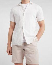 Express - Slim Geo Striped Rayon Short Sleeve Shirt Neutral Xxl Tall - Lyst