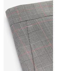 Express Slim Grey Plaid Performance Suit Trousers Grey W30 L32