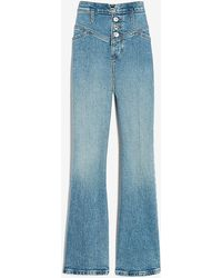 Express Super High Waisted Seamed Button Fly Cropped Flare Jeans - Blue