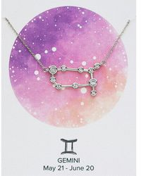 Express Sterling Forever Silver Gemini Constellation Necklace Silver - Metallic