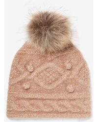 Express Cosy Cable Knit Pom Beanie Warm Taupe - Brown