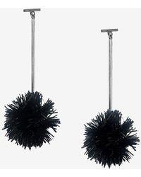 Express Tuleste Lurex Pom Pom T Bar Earrings - Black