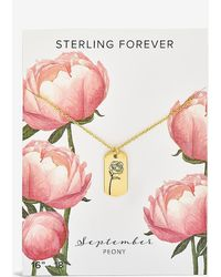 Express Sterling Forever September 'peony' Birth Flower Necklace Gold - Multicolour