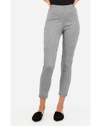 Express High Waisted Cropped Gingham Pull-on Leggings Black And White Stripe