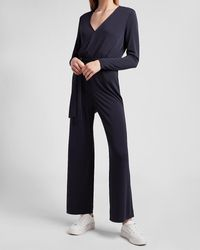 Express Soft Belted Wrap Front Wide Leg Palazzo Jumpsuit Blue Xxs