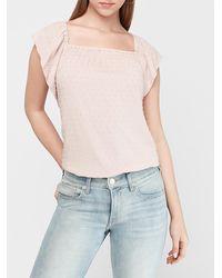 Express - Clip Dot Flutter Sleeve Smocked Top Pink Xs - Lyst