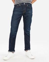 Express Classic Boot Dark Wash Thick Stitch Stretch Jeans, Size:w42 L34 - Blue