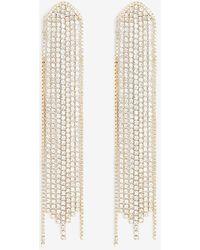 Express Rhinestone Fringe Arrow Drop Earrings Gold - Metallic