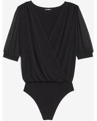 Express Wrap Front Sheer Sleeve Thong Bodysuit - Black