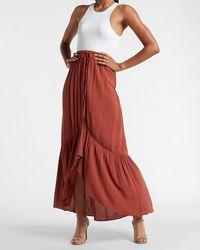Express High Waisted Textured Button Front Hi-lo Maxi Skirt Orange Xs