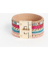 Express Multi Chain Beaded Turnlock Cuff Bracelet - Multicolour