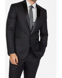 Express - Slim Black Dobby Wool-blend Tuxedo Jacket Black - Lyst