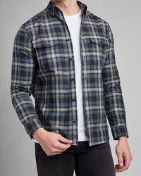 Express Slim Plaid Flannel Shirt - Blue