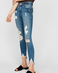 Express Mid Rise Floral Embroidered Ankle Jeggings, - Blue
