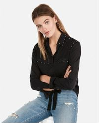 Express - Silky Studded Twill Button-down - Lyst