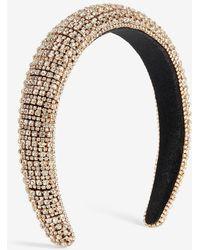 Express Rhinestone Studded Headband Shiny Gold - Metallic
