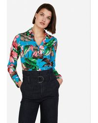 Express Floral Slim Fit Portofino Shirt Blue Print Xs