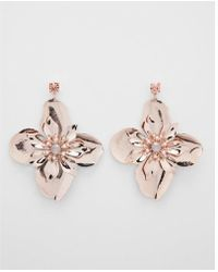 Express | Metallic Flower Drop Earrings | Lyst