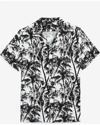 Express Slim Palm Print Rayon Short Sleeve Shirt - White