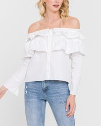 Express Endless Rose Off Shoulder Ruffle Top White S