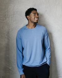 Express Cozy Earth Ultra-soft Pullover Crew Blue L