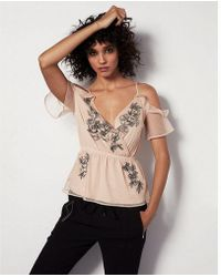 Express - Cold Shoulder Surplice Ruffle Cami - Lyst