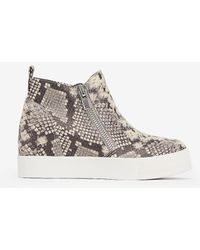Express Steve Madden Wedgie Trainers Neutral Print - Multicolour