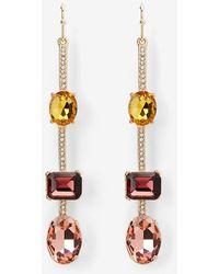 Express Multi Stone Linear Drop Earrings - Multicolour