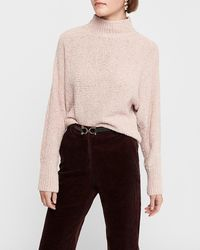 Express Cosy Chenille Open Back Mock Neck Jumper Pink