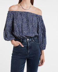 Express Printed Off The Shoulder Thong Bodysuit Blue Print