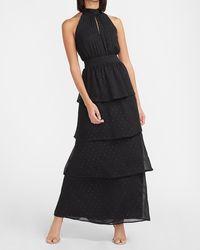 Express Metallic Clip Dot Ruffle Tiered Halter Maxi Dress Black Xxs