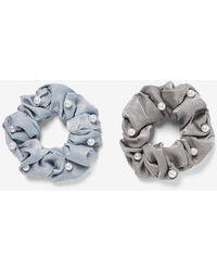 Express Set Of 2 Pearl Embellished Rhinestone Ponytail Holders Blue