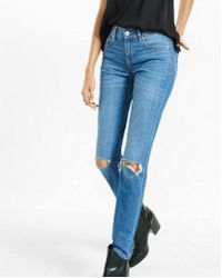 Express - Mid Rise Distressed Skinny Jean, Women's Size:00 - Lyst