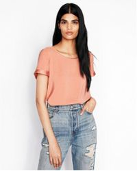 Express - Silky Zip Back Gramercy Tee - Lyst
