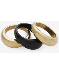 Express Soko Mixed Material Fanned Stacking Rings Gold 5 - Metallic