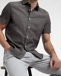 Express Slim Black Denim Short Sleeve Shirt