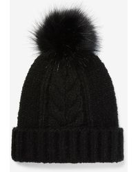 Express Cable Knit Pom Beanie Black