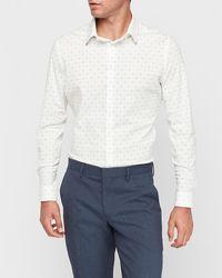 Express - Big & Tall Extra Slim Diamond Geometric Print Dress Shirt White Xxl - Lyst