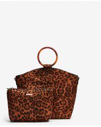 Express Shiraleah Leopard Dani Top Handle Tote - Black