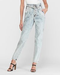 Express Super High Waisted Acid Wash Fold-over Straight Jeans, Size:8 Short - Blue