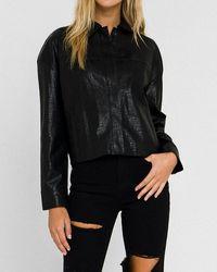 Express Grey Lab Oversized Faux Leather Jacket Black S