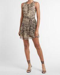 Express Zebra Print Tiered Ruffle Fit And Flare Dress Black Print