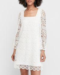 Express Crocheted Mixed Lace Babydoll Dress White Xs