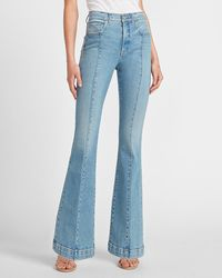 Express High Waisted Seamed Slim Flare Jeans - Blue