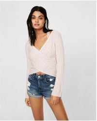 Express | Marled Surplice Bell Sleeve Pullover Sweater | Lyst