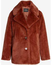 Express Cosy Faux Fur Button Front Coat Orange Xxs