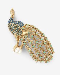 Express Embellished Peacock Pin - Blue