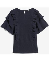 Express Textured Double Ruffle Top Blue S