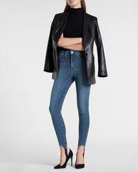 Express High Waisted Ultra Hyper Stretch Medium Wash Skinny Stirrup Jeans, Size:12 Long - Blue
